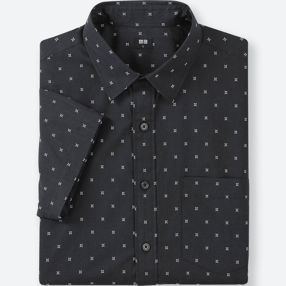 Uniqlo Broad Cloth star printed shirt.jpeg