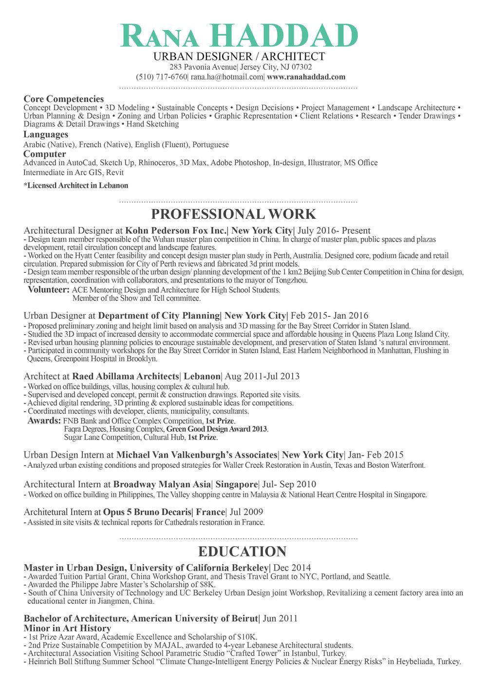 CV Rana June2017.  Urban Planning Resume