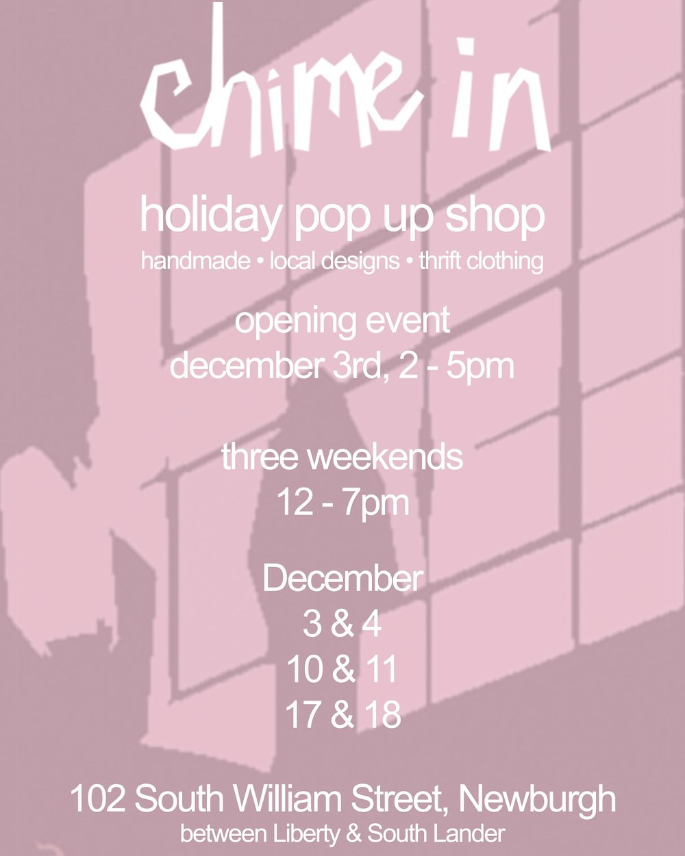 chime in holiday pop up shop