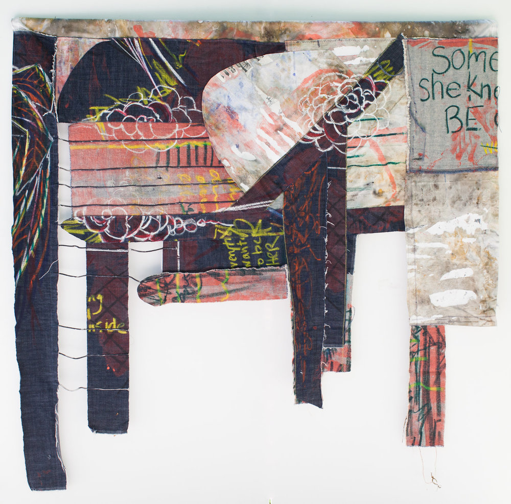 Leslie Fandrich - Fabric, String, Oil and Acrylic Paint