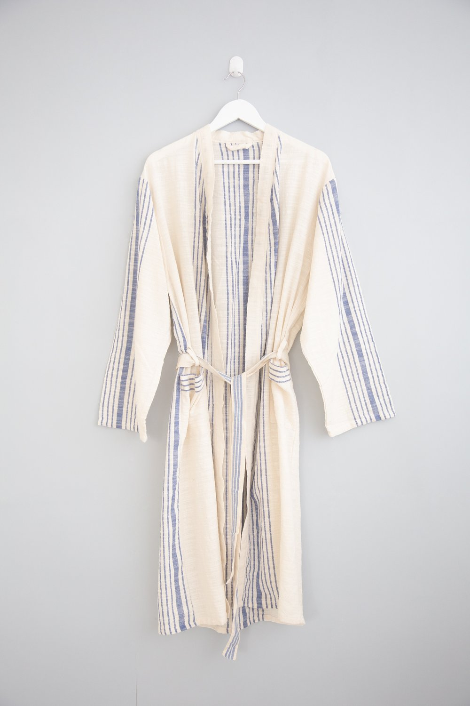 NEW! Cream Blue Stripe Hudson Robe — Home   Loft b710dc920
