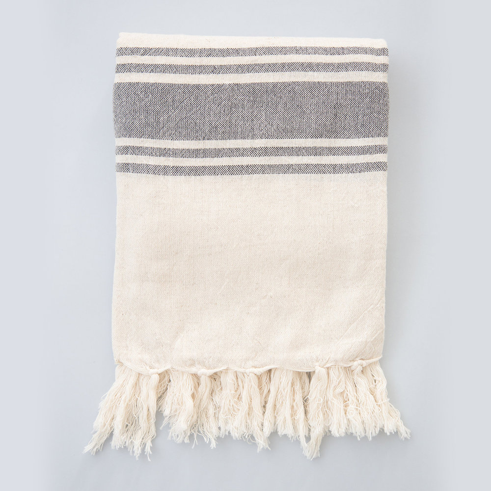 Five Stripe Linen Blanket
