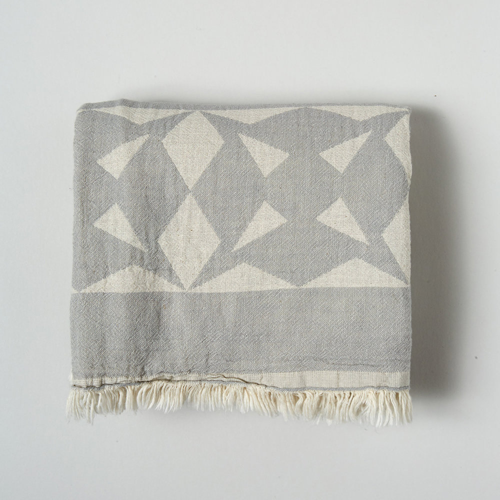 Grey Origami Cotton Throw/Wrap