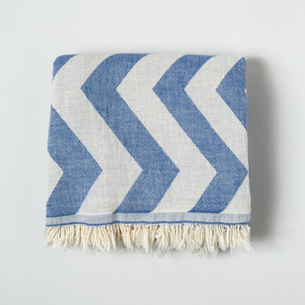 Denim Chevron Cotton Throw Wrap