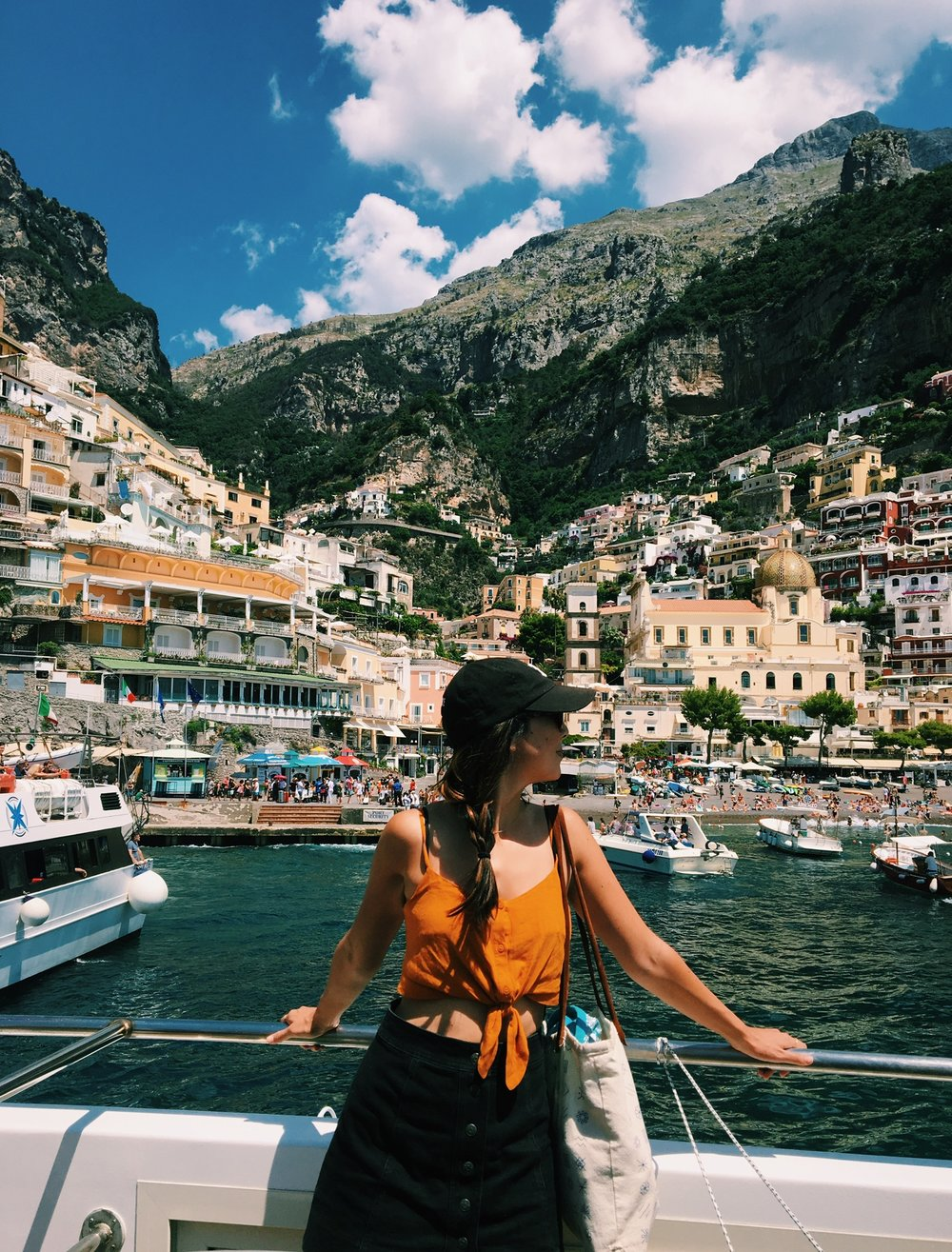 Ferry ride to Positano. Wearing a crop top from Topshop.