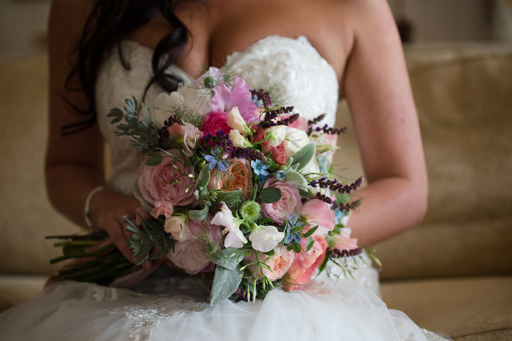 Pretty bridal bouquet for Anya in May. A classic loose, multi textured hand tie with lots of colour, scent and movement.