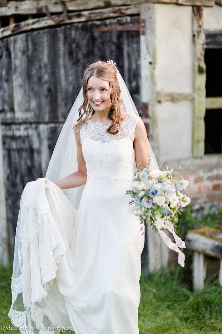 The gorgeous  Laura at Clock Barn in May - this was a stunning bouquet very delicate and floaty.