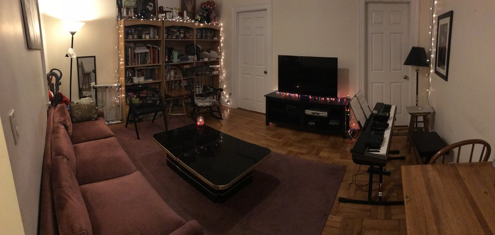 """The apartment prepped and ready for hosting the Home Reading of """"The King's Legacy"""""""