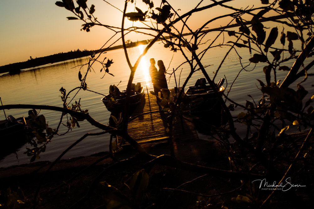 Couple Sunset by the lake