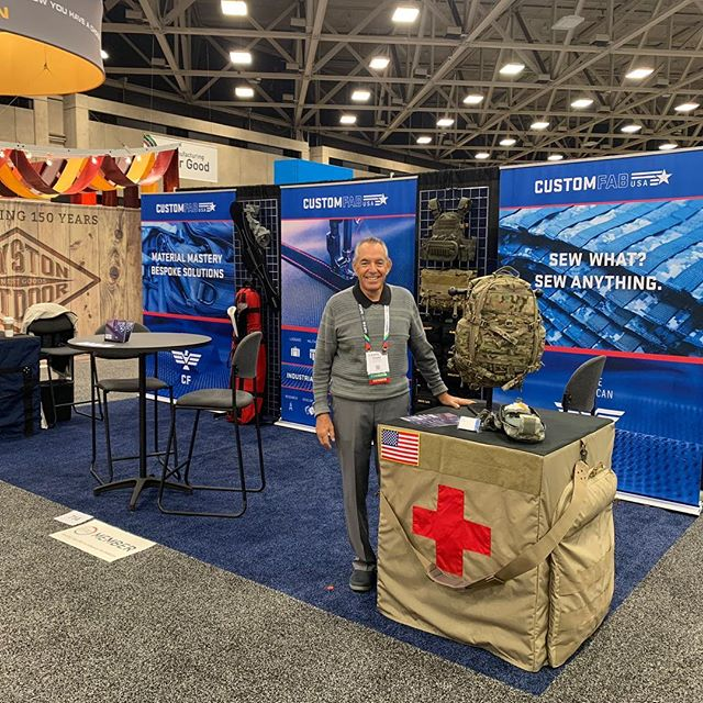Howard at the ready! Come say Howdy at this year's #ifaiexpo2018 in Dallas, Texas. We'll be at booth 714. Check out the link in our bio to learn more! . . . #ifaiexpo #customfabusa #tradeshowbooth #tradeshow #madeinamerica #fabric #contractsewing
