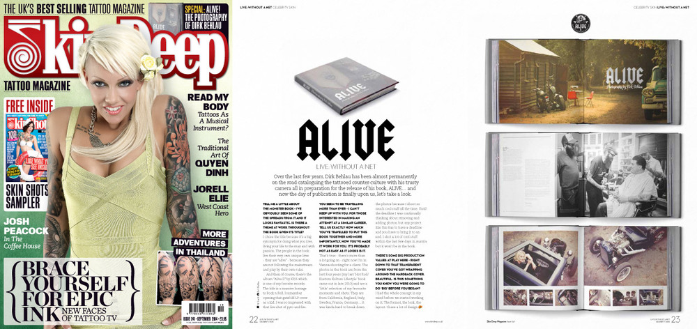 ALIVE Feature/Interview on 4-pages in Skin Deep Magazine from the UK