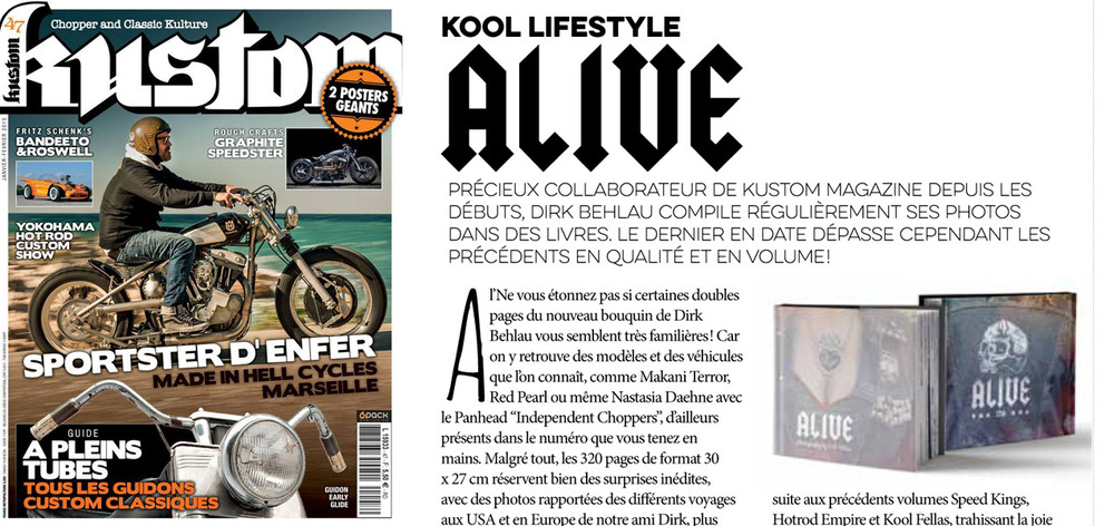ALIVE Feature in KUSTOM Magazine from France