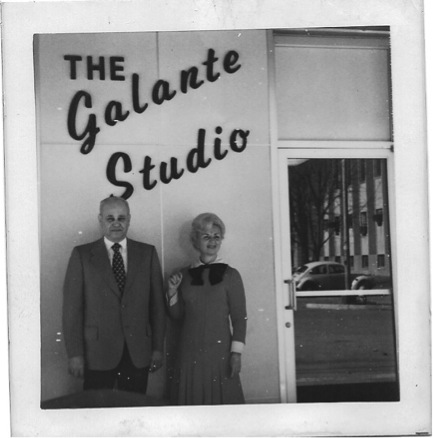 Gloria Shavel and Harold Chism in front of The Galante Studio in Hardinsburg, KY. Circa 1969.