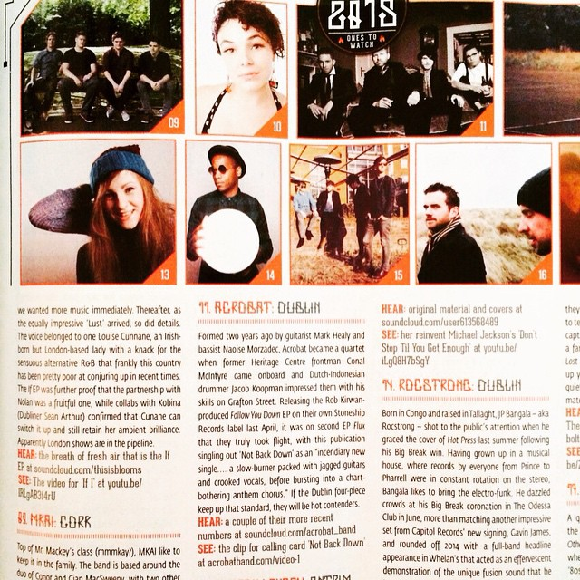 "Delighted to be included in Hotpress's ""Hot for 2015""! #acrobatband"