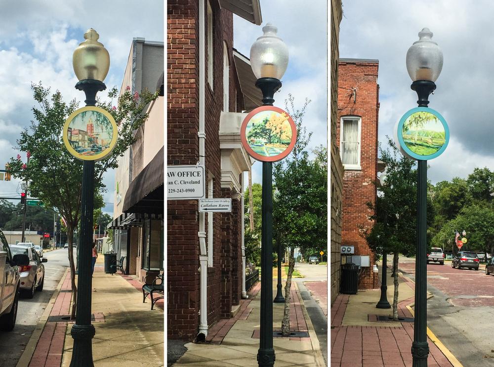 Downtown Bainbridge Street Lamp Circles - Design, Print (Ashley Long, artist)
