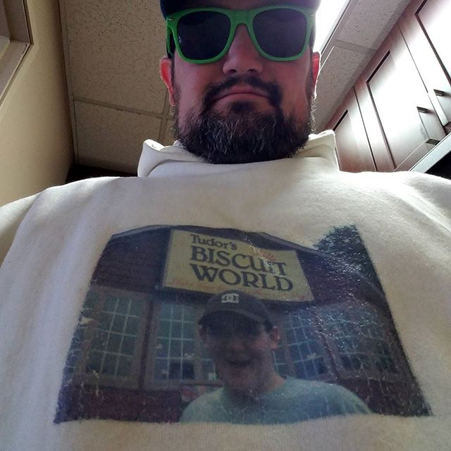 Sometimes you gotta wear a shirt with your own face on it. #biscuitworld