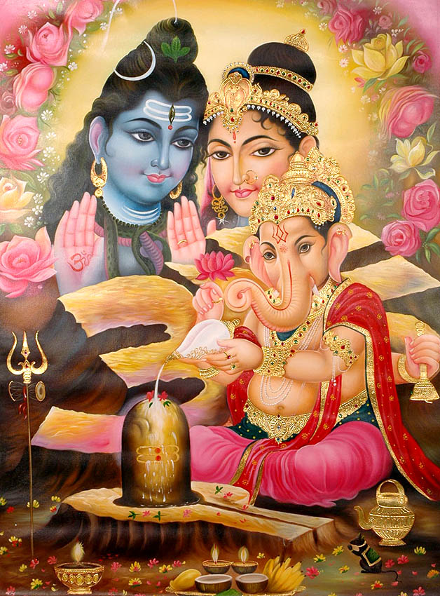 Photo: https://www.exoticindiaart.com/product/paintings/shiva-parvati-bless-ganesha-worshipping-shiva-linga-OR70/