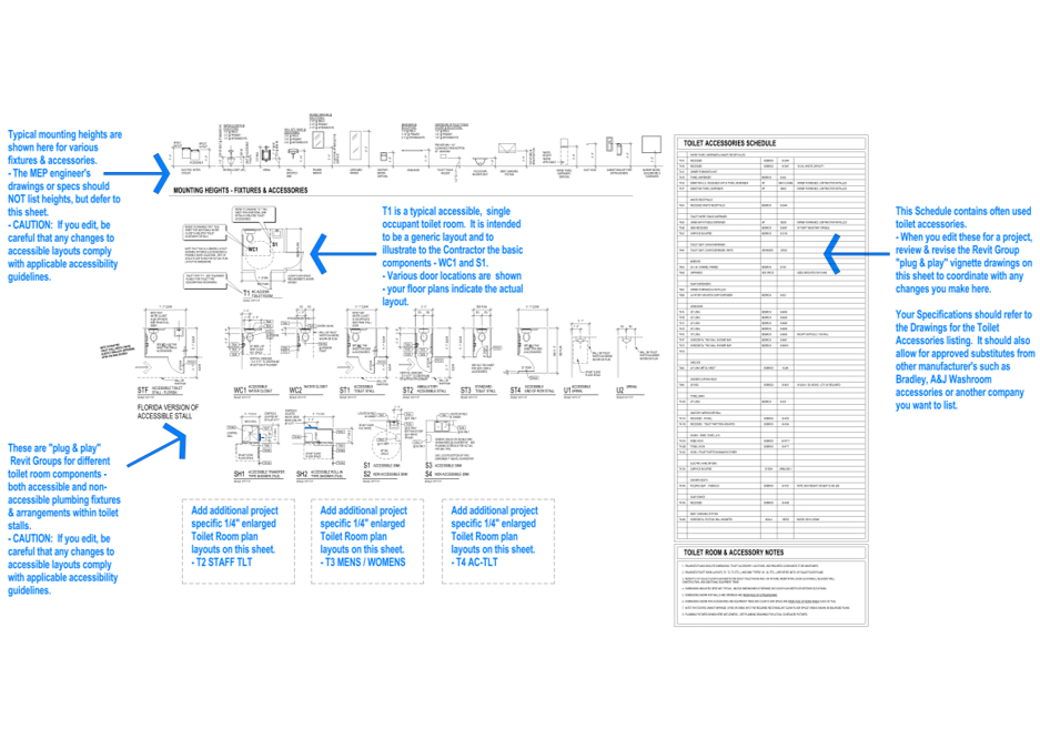 The  Toilet Types  sheet with instructional text to the modeler / drafter in blue