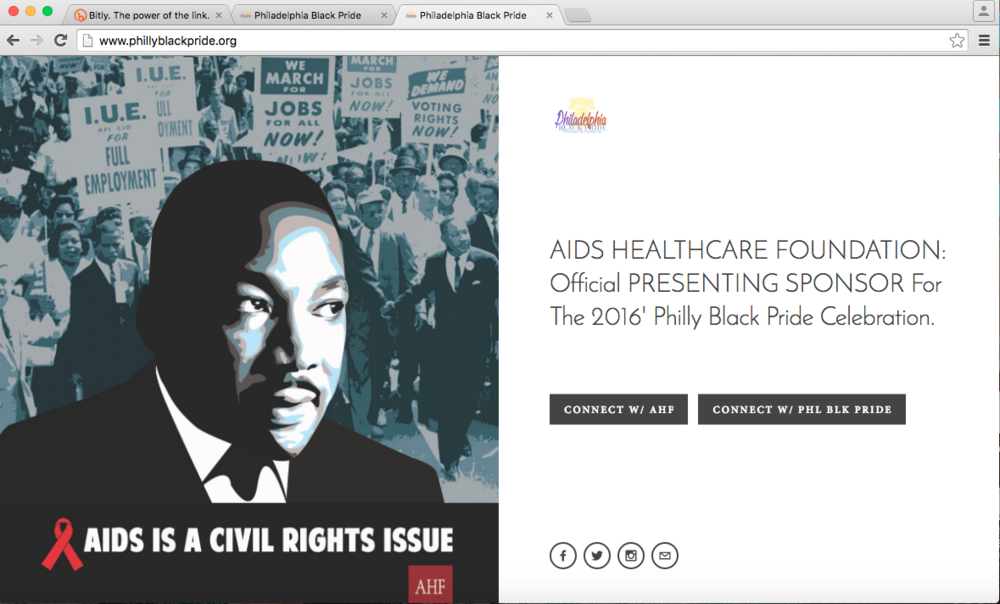 The COVER PAGE was the landing page for www.phillyblackpride.org.