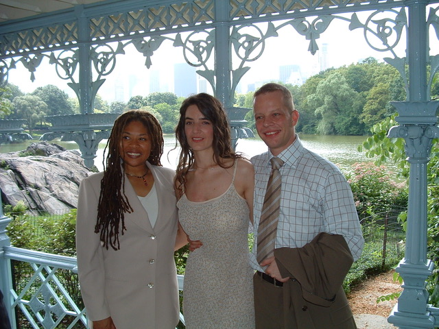 Celebrant Kim Kirkley with Austrian newlyweds, Evelyn and Hannes, Ladies Pavilion, Central Park
