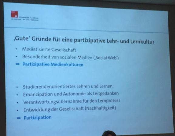 Abbildung1: Kerstin Mayrbergers Gründe für eine digitale Lehr- und Lernkultur, Folie von der diesjährigen Jahrestagung der Gesellschaft für Hochschulforum