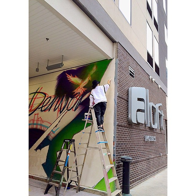 Painting with DCM - Mural for Aloft Hotel Denver