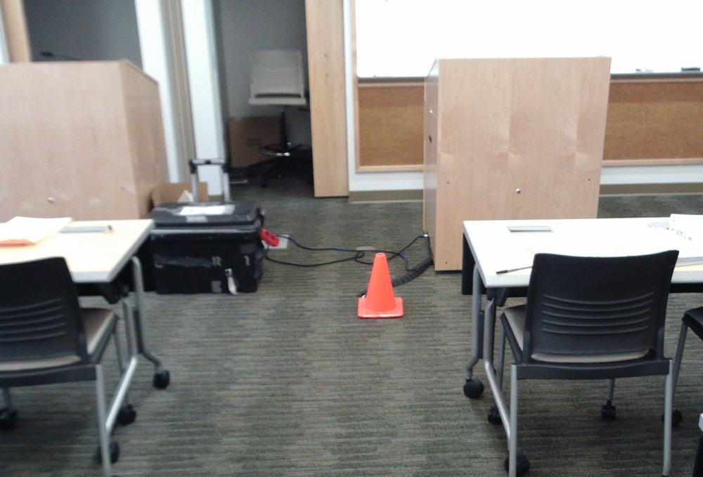 cone placed at front of room so instructor could avoid electrical connection.jpg