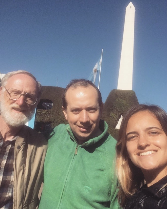 The photo on the right is a selfie with Grif, Pablo, and Soledad.  The Obelisco is along the Avenue 9 de Julio (the 9th of July) named for Argentina's independence day.  I'm told this avenue is the second widest paved road in the world.  It does require multiple crosswalks to move across it.