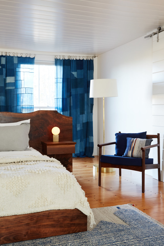 Custom Walnut Slab Bed fabricated by Marshall Farm Woodworks
