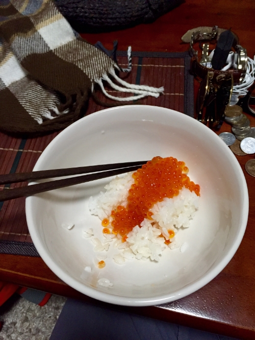 Salmon roe from the grocery store...not very nummy...but very nourishing to a hungry boy.