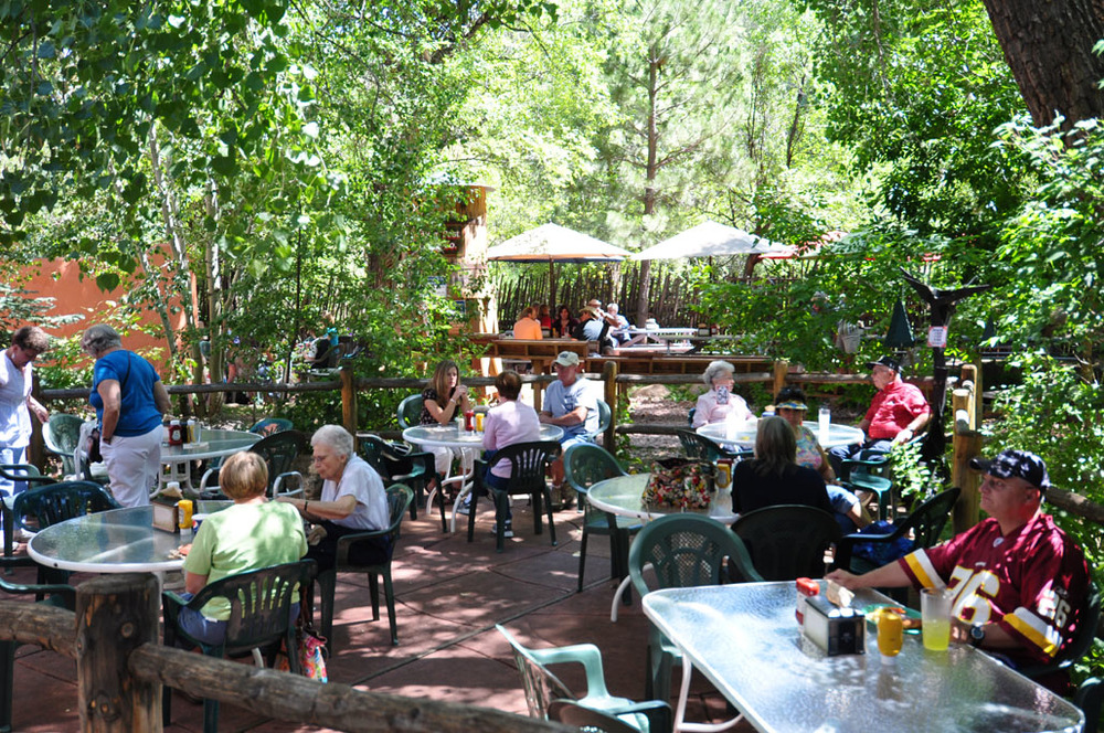The Balanced Rock Cafe has plenty of seating in our beautiful patio garden.