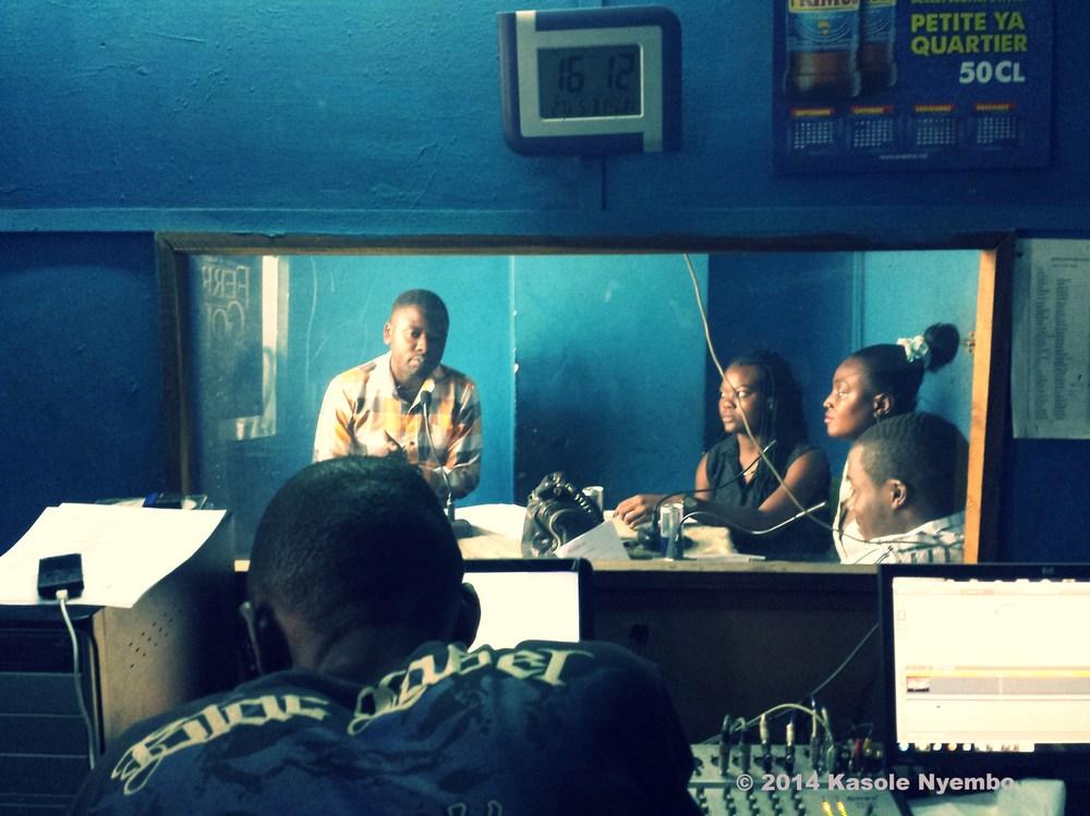 Kinshasa, Democratic Republic of Congo: tapping a radio show at Tropicana TV