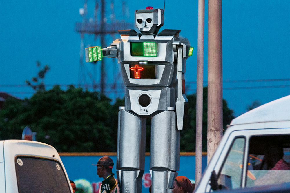Kinshasa, Democratic Republic of Congo: Robots do a much better job than traffic cops in keeping this metropolis rolling.