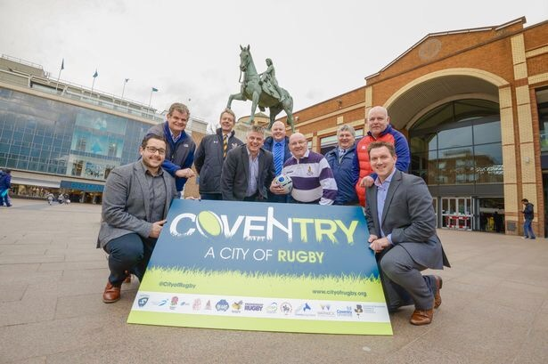 City of Rugby partners at the Lady Godiva statue Coventry City Centre