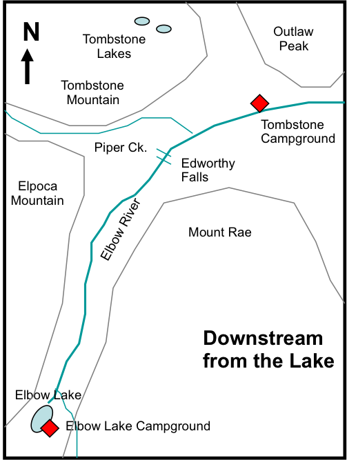 Figure 2-1. Sketch map of the area downstream of the Elbow Lake Campground.