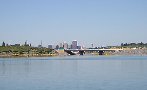 Figure 10-2. Glenmore Dam and reservoir, with downtown Calgary in the background.