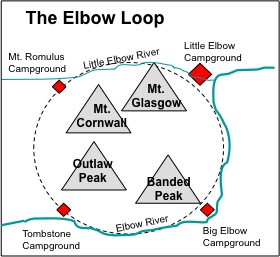 Figure 3-1. Sketch map of the Elbow Loop, the trail around the Banded Group.