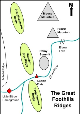 Figure 4-1. Sketchmap of the Great Foothills Ridges.