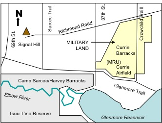 Figure 9-1. Sketch map of military locations in the Elbow River watershed. .