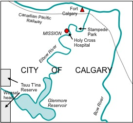 Figure 10-1. Sketch map of the urban Elbow: from the Glenmore Reservoir to the Bow River. .