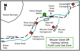 Figure 6-1. Sketch map of former Elbow Ranger Station and Elbow River recreation areas, including McLean Creek OHV Public Land Use Zone.