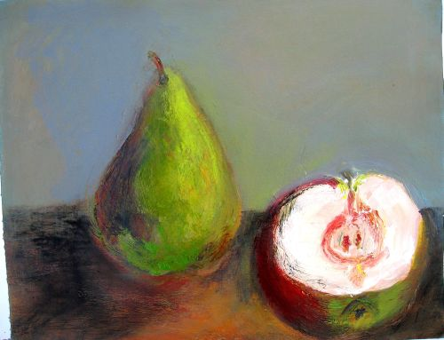 Pear and Apple<br/>44x30 acrylic on paper