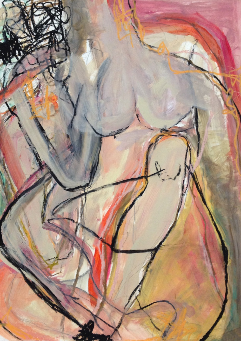 Tangled Lady<br/>30x44 mixed media on paper