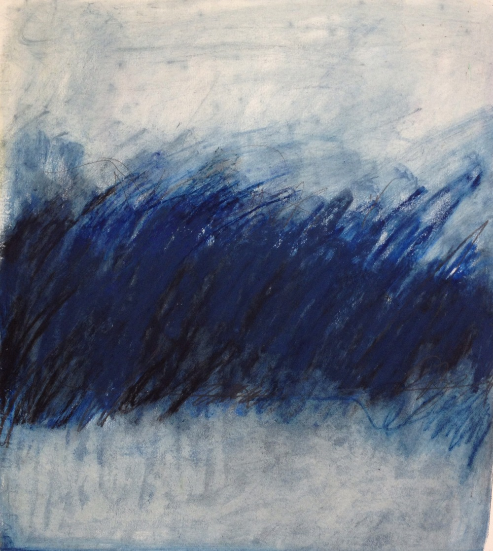 Blue Indigo Field<br/>12x14 Mixed media on paper