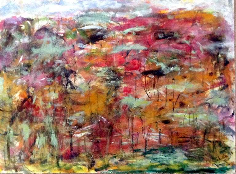 Fall Forest<br/>22x30 mixed media on paper