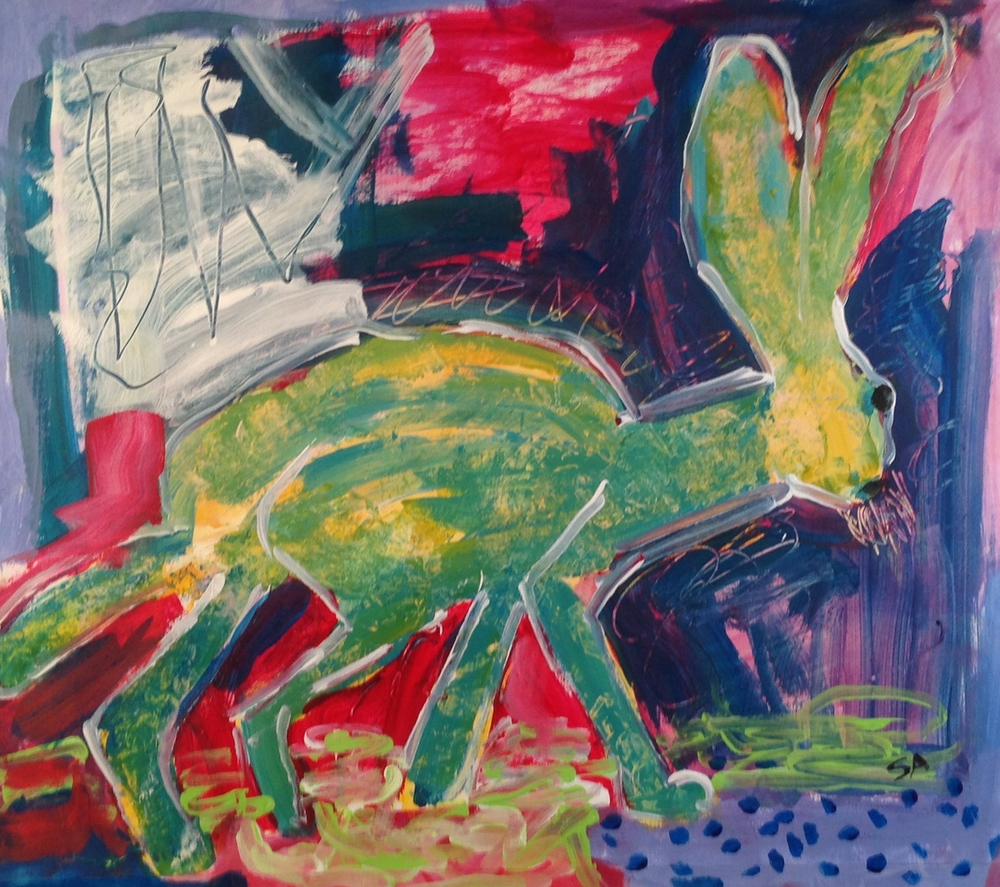 Myerberg Hare<br/>20x24  acrylic/paper