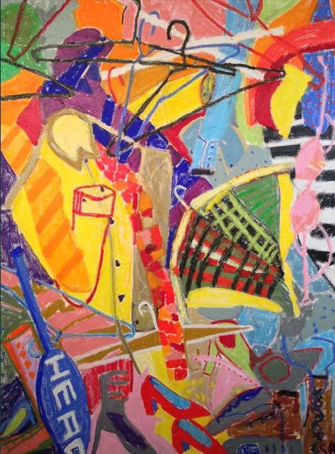Patti's Closet<br/>48x36 oil stick/canvas