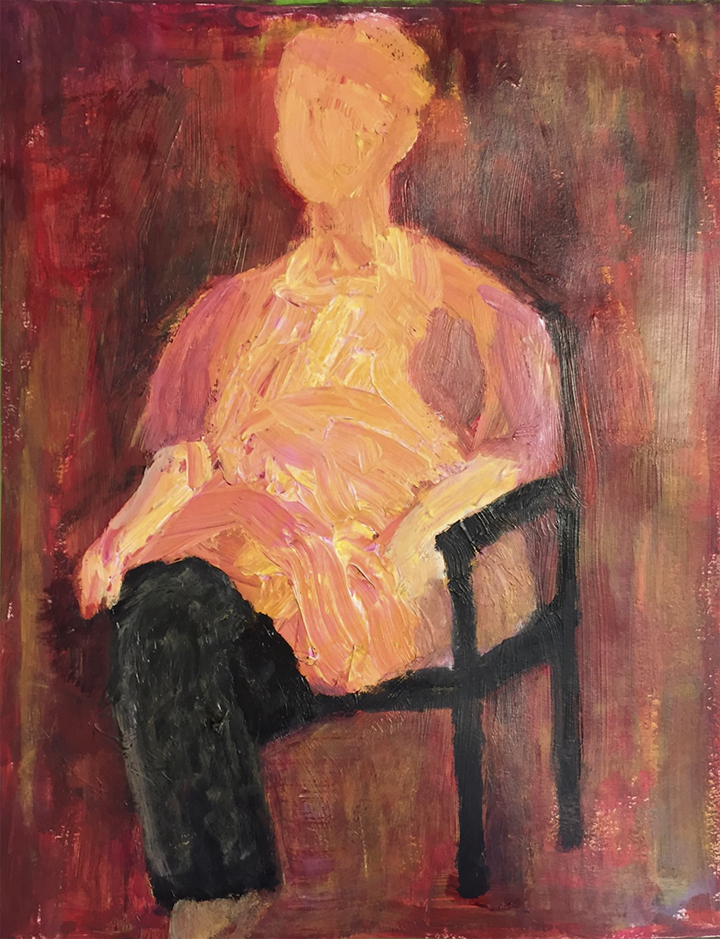 Ruth Sitting II<br/>26x18 (framed) acrylic on bristol vellum