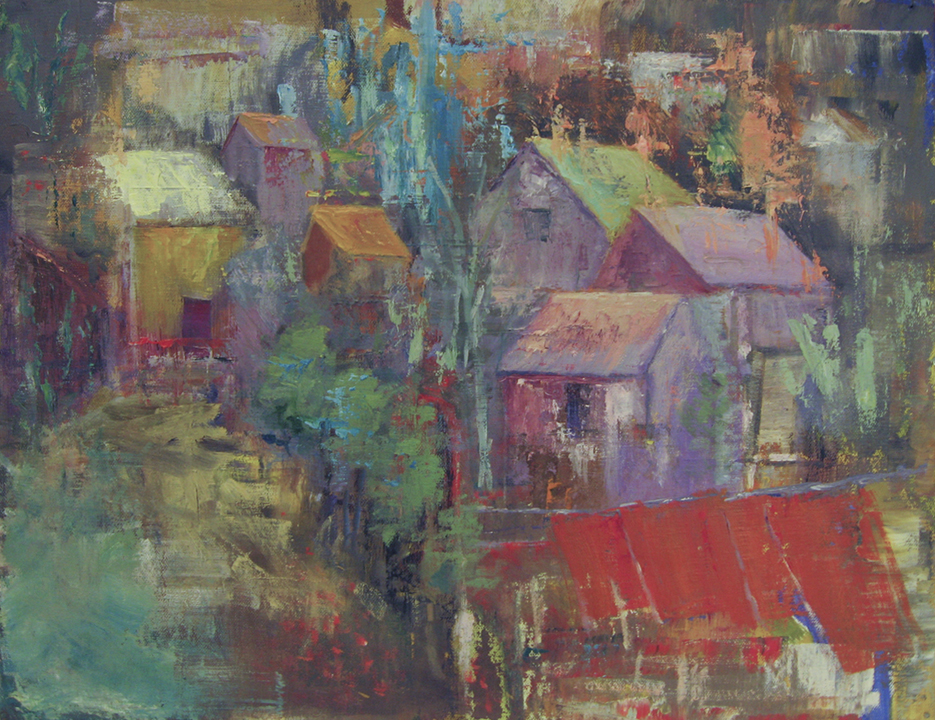 Mountain Village<br/>17x22 (framed) Acrylic on board