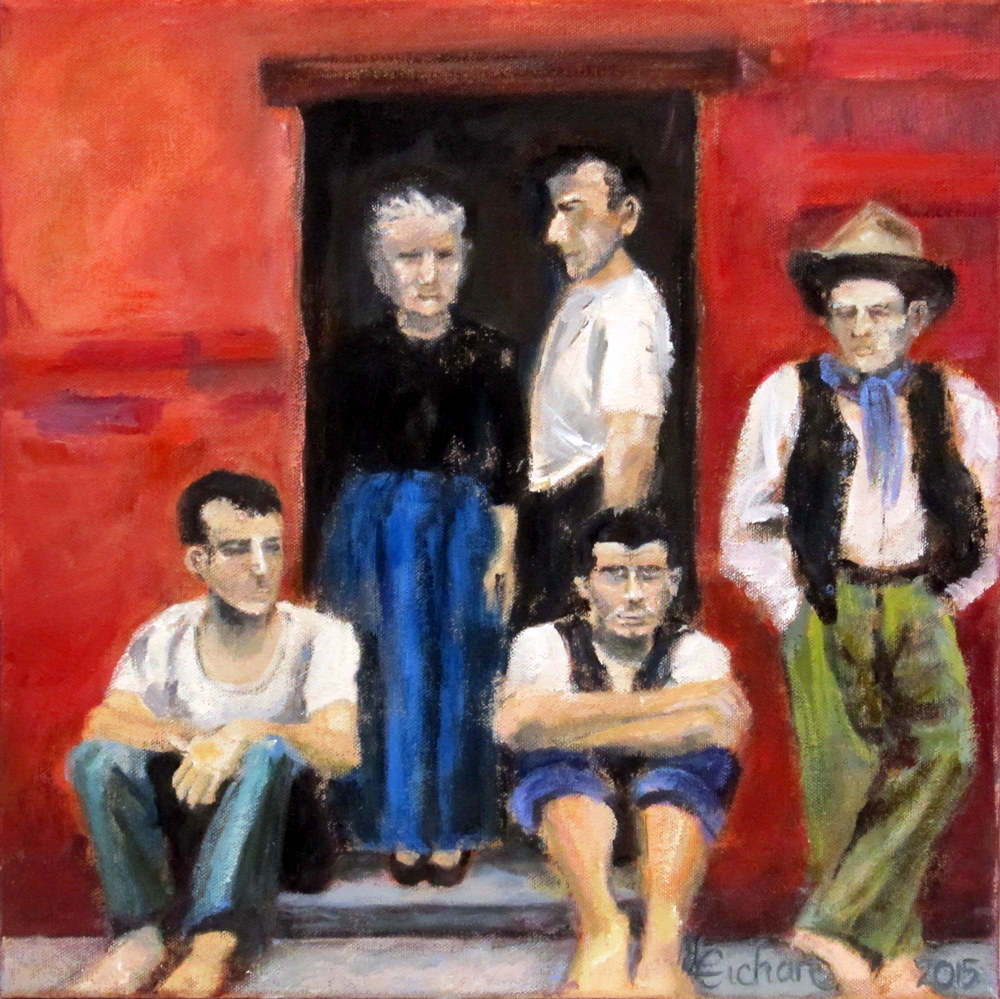 Sicilian Family<br/>15x15 Acrylic on Canvas